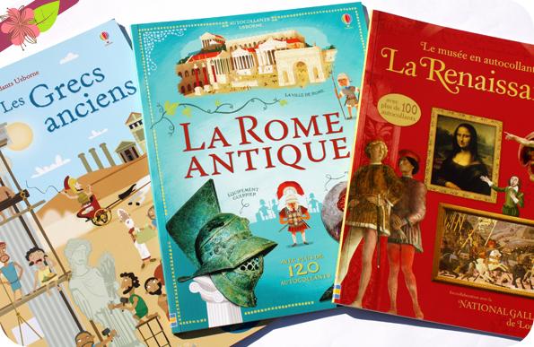 Autocollants Usborne : Les Grecs anciens, La Rome antique, La Renaissance