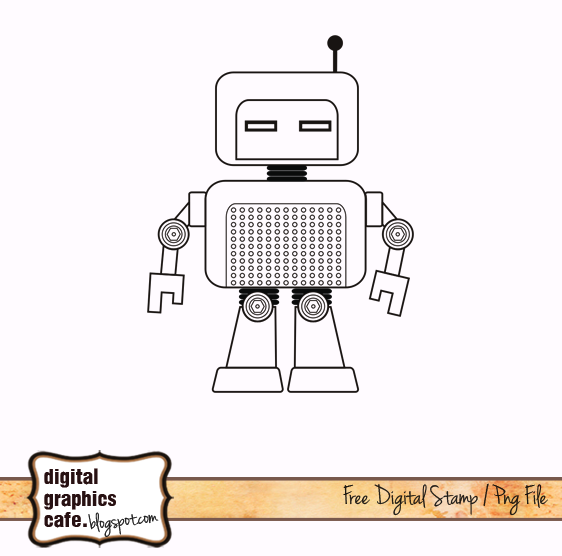 robots lineart digitalstamp