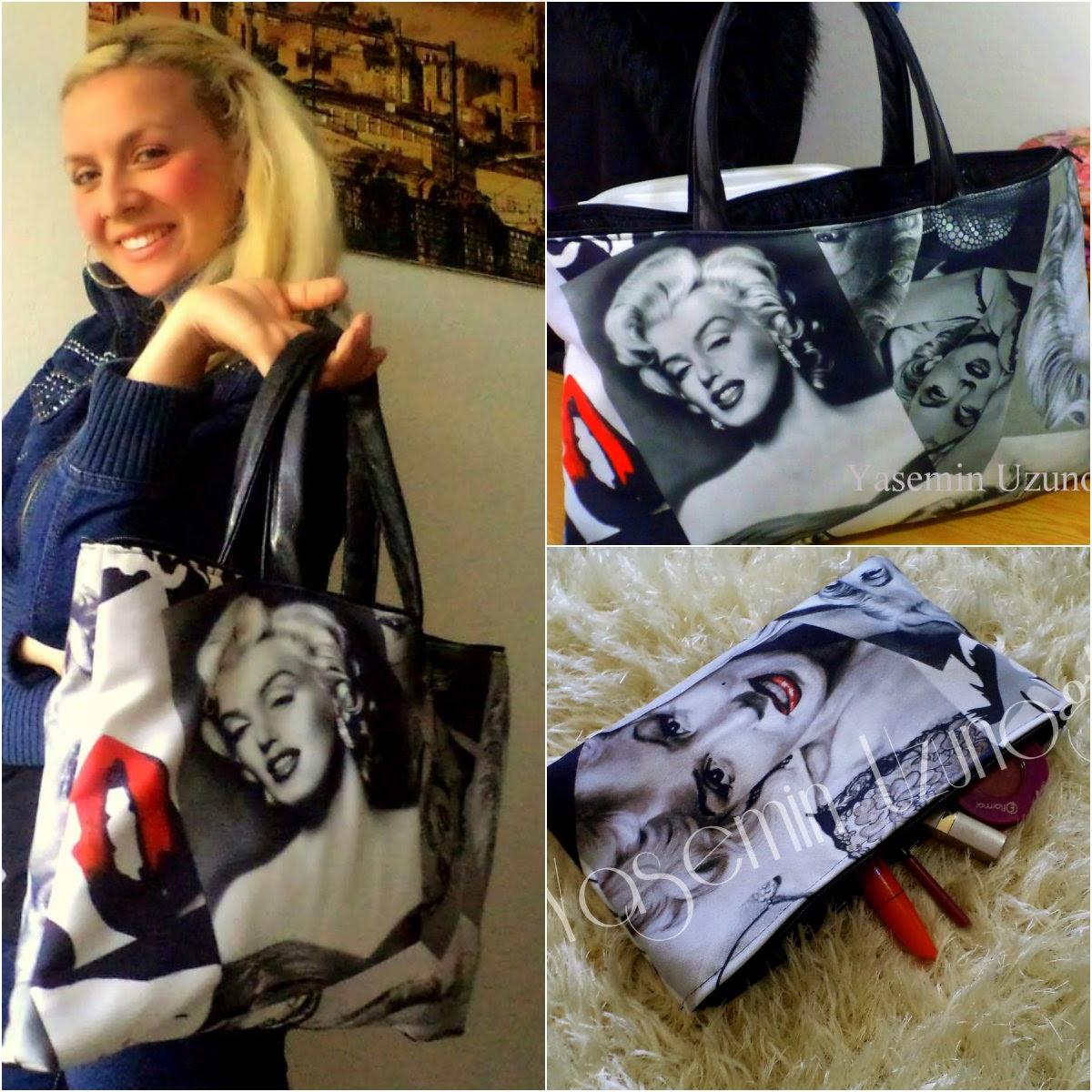 Marilyn Monroe Desenli Tasarım Çantalar Yasemin Butikte