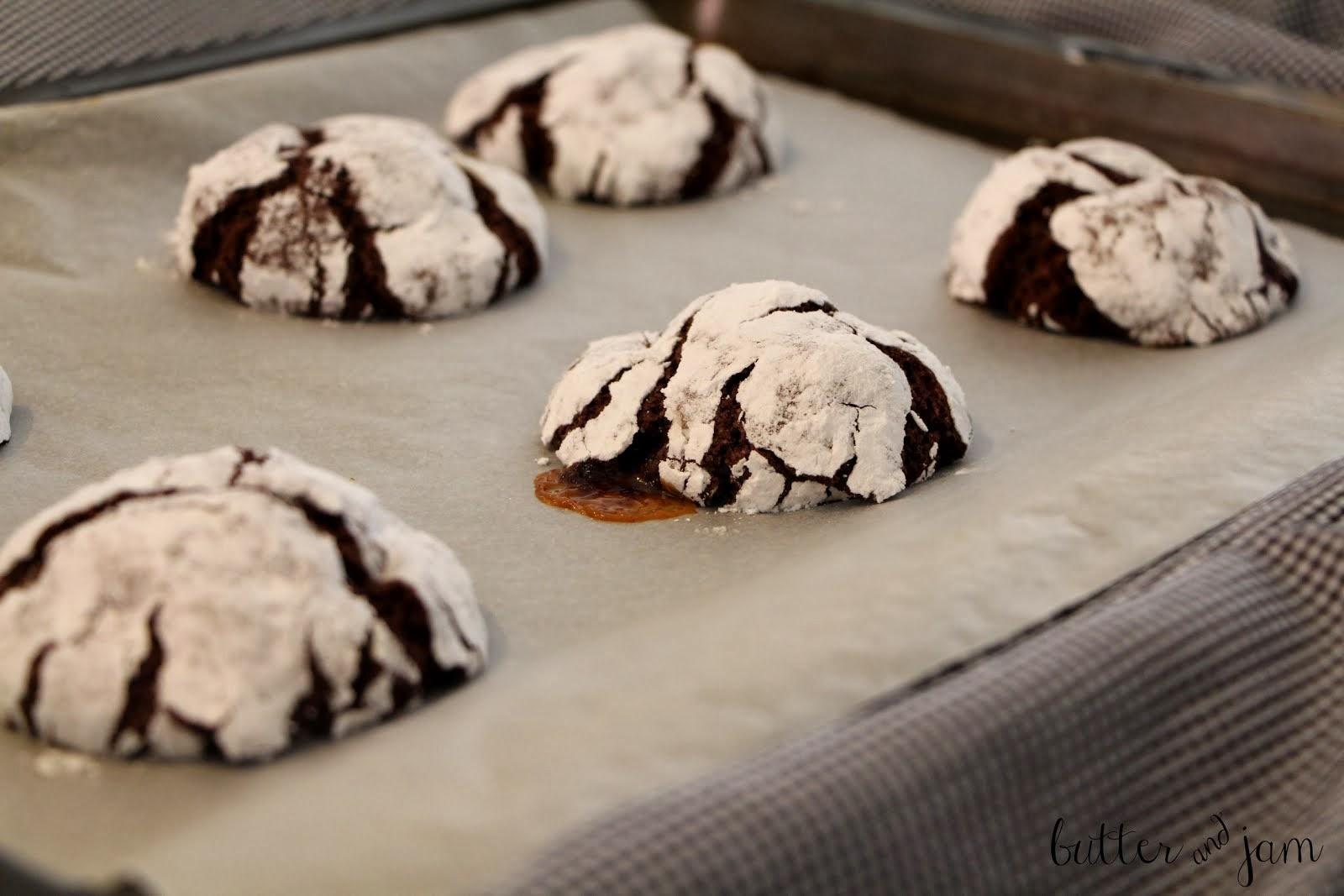rolo-stuffed chocolate peppermint balls