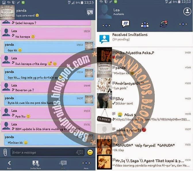 Download app BBMi UI Tema iphone terbaru versi 2.5 yang sudah bisa update status musik