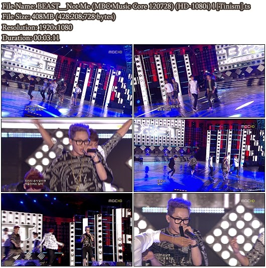 Download Performance BEAST - Not Me (MBC Music Core 120728) (Full HD 1080i)