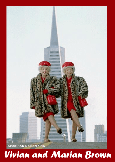 Vivian Brown and Marian Brown atop Telegraph hill in 1996.