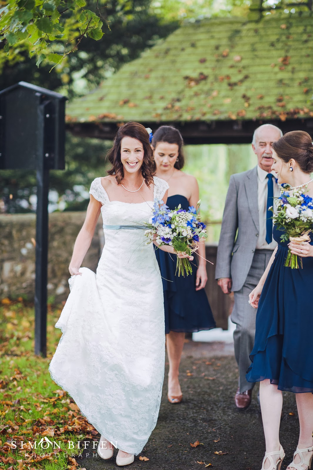 Bride walking to Kilve church