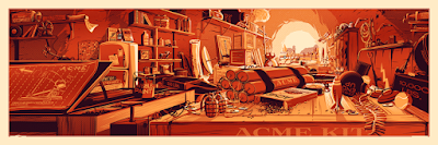 "Luxury Metallic ""Sunset"" Variant ""The Desk of Mr. Coyote"" Looney Tunes Screen Print by Rob Loukotka"