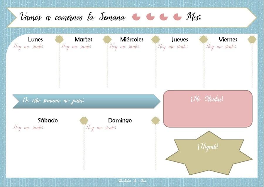 Planificador semanal for Organizar comida semanal