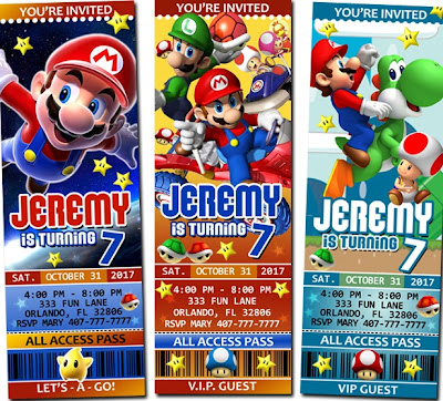 super Mario brothers party invitations
