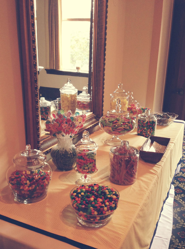 Chasing davies navy yellow wedding bliss for Candy bar for weddings receptions