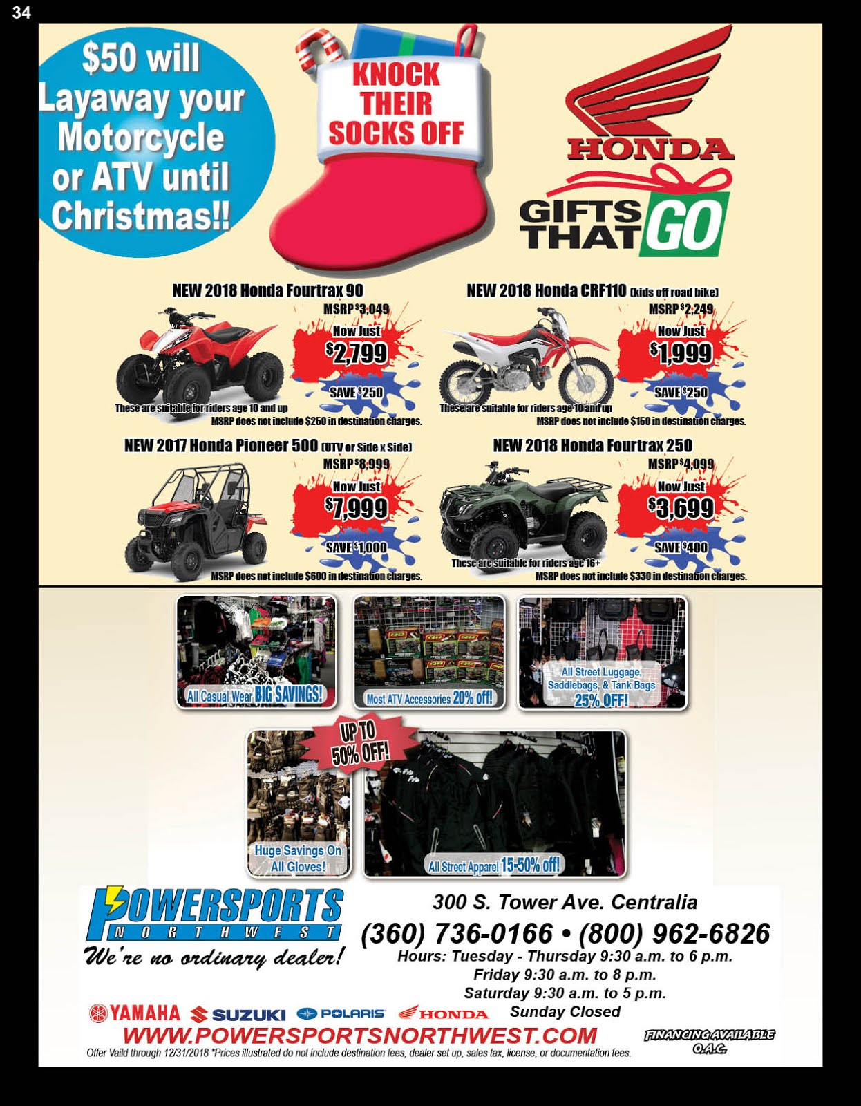 Powersports Northwest Honda Gifts That Go Sales Event!!