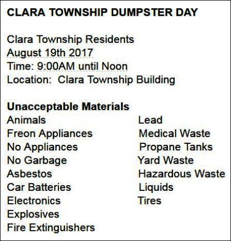 8-19 Clara Twp. Dumpster Day