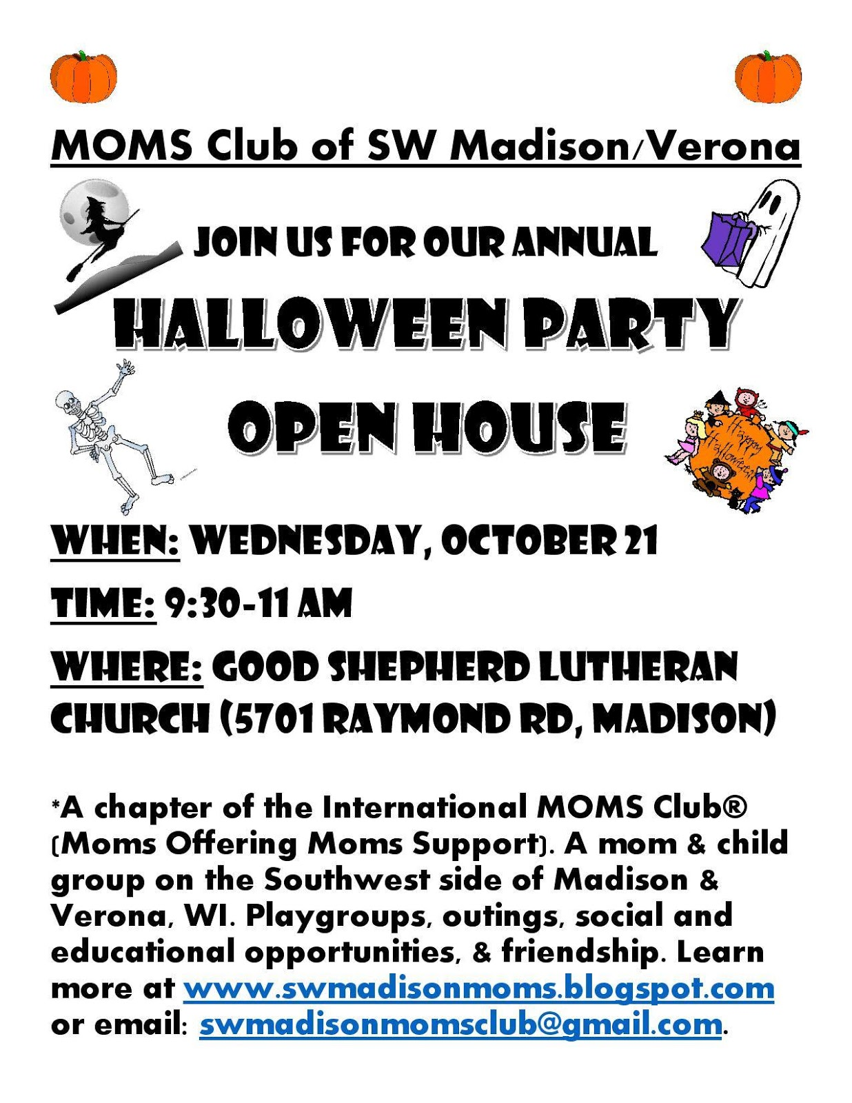 MOMS Club® of Madison - Southwest: You're Invited! Halloween Party ...