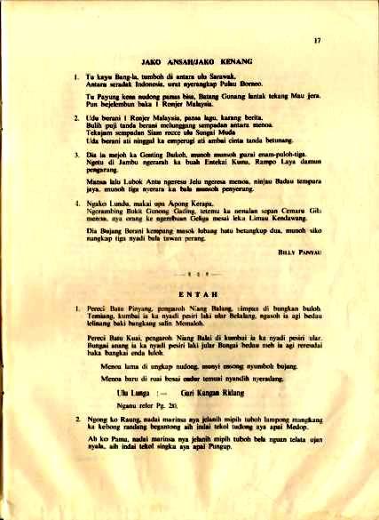 Lembar 17 - Jako Ansah/Jako Kenang ulih WO II Billy Panyau
