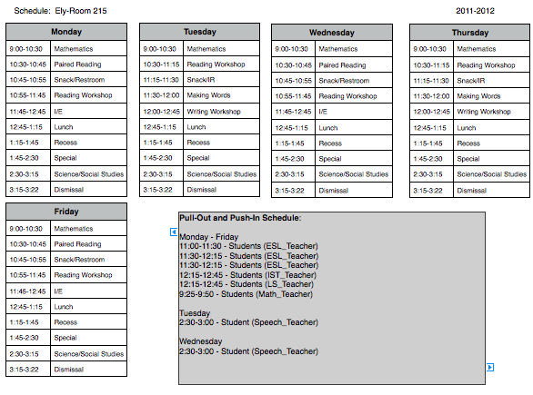 elementary school master schedule template - the.zadluzony