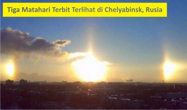 tiga matahari terbit di chelyabinsk rusia