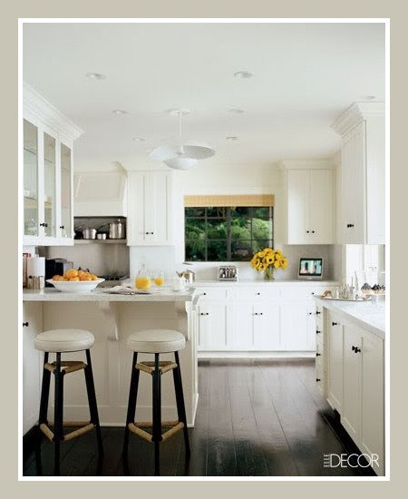 White Kitchen With A Dark Floor Content In A Cottage