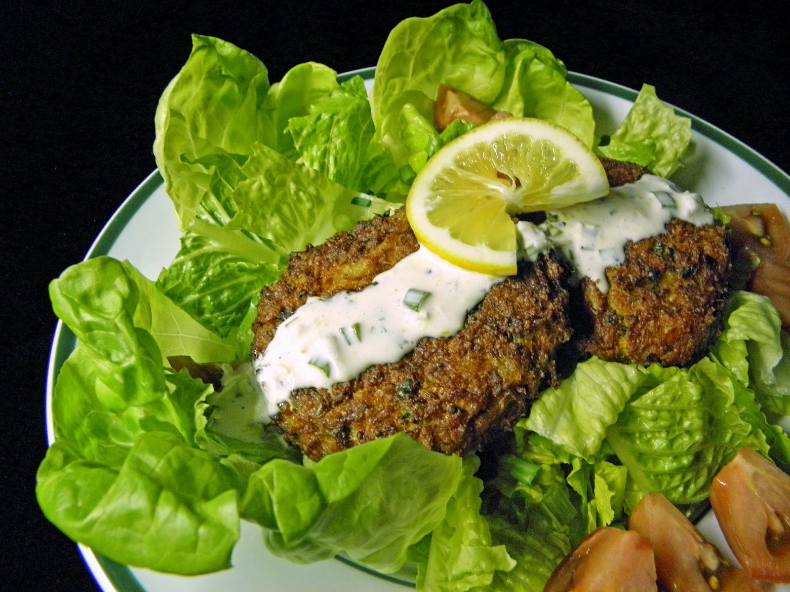 ... and Anita : Oven Baked Crab Cakes With Lemon Aioli Served Over Salad
