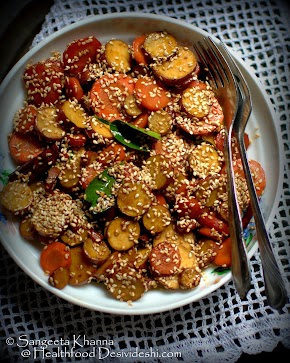 a warm salad with caramelised sweet potatoes and carrots   a stir fry salad with flavours of lime, ginger and chilly heat