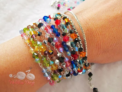 Wire wrapped Swarovski Crystal Bracelets on Wrist by WireBliss