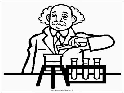 gambar mewarnai profesi ilmuwan