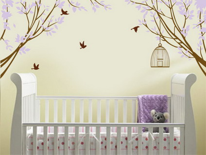 Inspiring for decoration purple wall decal for nursery for Baby nursery wall decoration