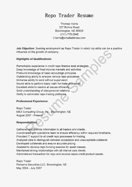 High Quality Great Sample Resume: Resume Samples: Repo Trader Resume Sample