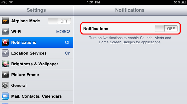 Turn Off iPad Notifications to Fix Wi-Fi Problem