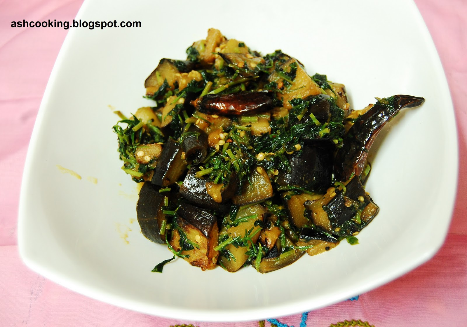 My Cookbook: Begun Methi - Eggplant with Fenugreek Leaves