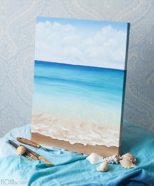 живопись маслом, море, штиль, волны, песок, марина