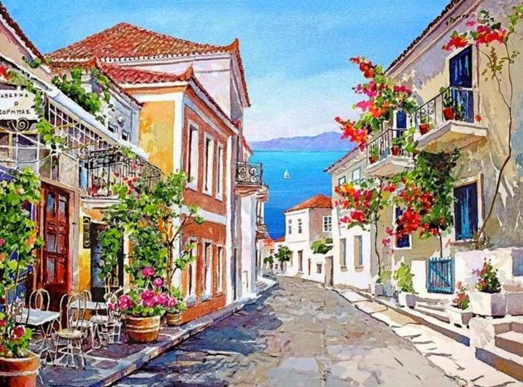 Pintura moderna y fotograf a art stica jardines pintados - Paisajes de casas ...