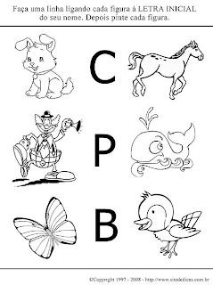 Atividades para Alfabetização - Indique a letra inicial