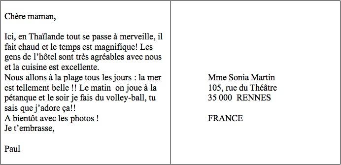 Exemple De Lettre De Vacances