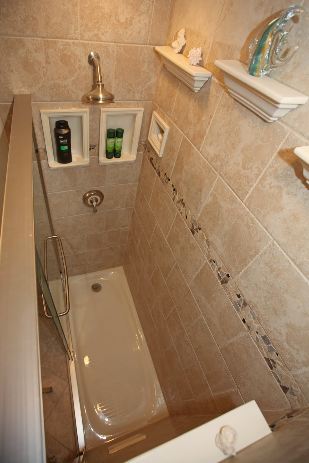Bathroom remodeling design ideas tile shower niches architectural niches crown and shower foot - Bathroom shower ideas ...