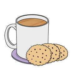 Tea and biscuits illustration