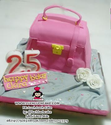 Kue Tart 3D Tas Pink Harmes Daerah Surabaya - Sidoarjo