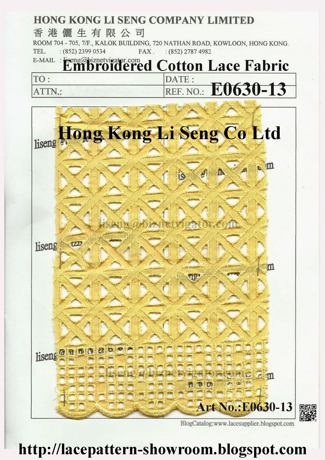New Pattern Emb Cotton Lace Fabric Manufacturer Wholesaler Supplier - Hong Kong Li Seng Co Ltd