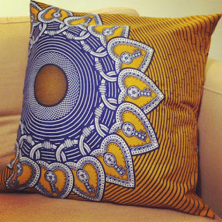 Handmade cushion made with African tribal print material from Ridley Road Market