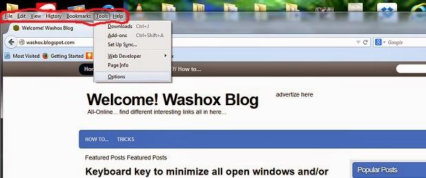 menu alat pengaturan browser firefox