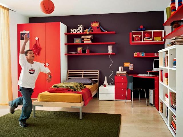 Foto Dekorasi Kamar Tidur Anak Laki-laki warna Merah