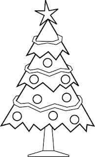 Christmas tree decorated with star and baubles coloring page for kids wallpaper