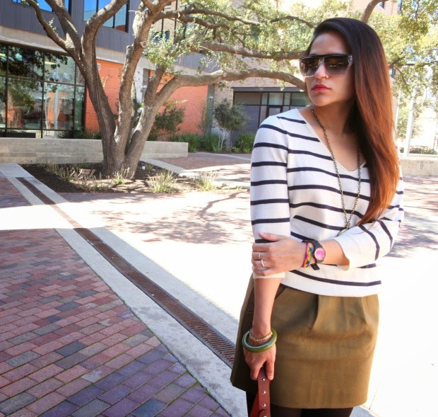 GAP Sweater, J Crew Skirt, Lucky Brand Boots, Dior Bag & Sunglasses Tanvii.com