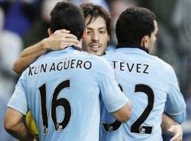 Sergio Aguero, Carlos Tevez and David Silva