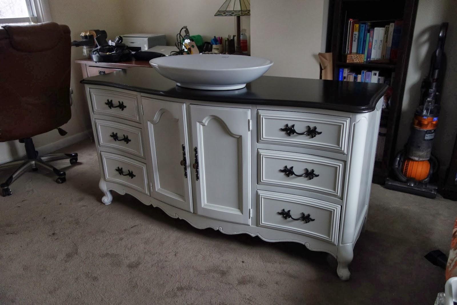 Rustyfarmhouse Diy Repurposing A Buffet Or Dresser As A Bathroom Vanity Part 2