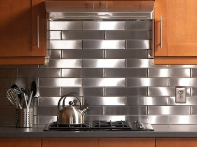 kitchen design with stainless steel tiles backsplash