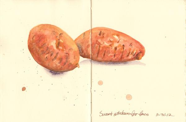 BlueBird Hill: Sketchbook Tuesday :: sweet potatoes