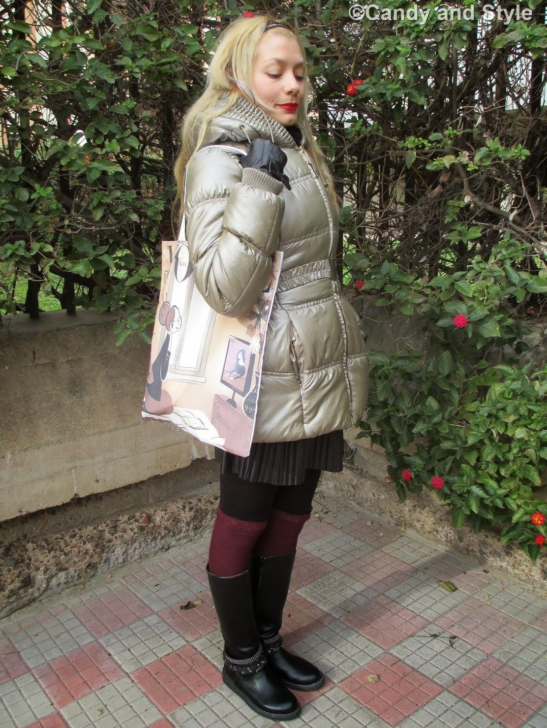 Puffer Coat, Pleated Skirt, Knee-Highs, QVC Shopper Bag