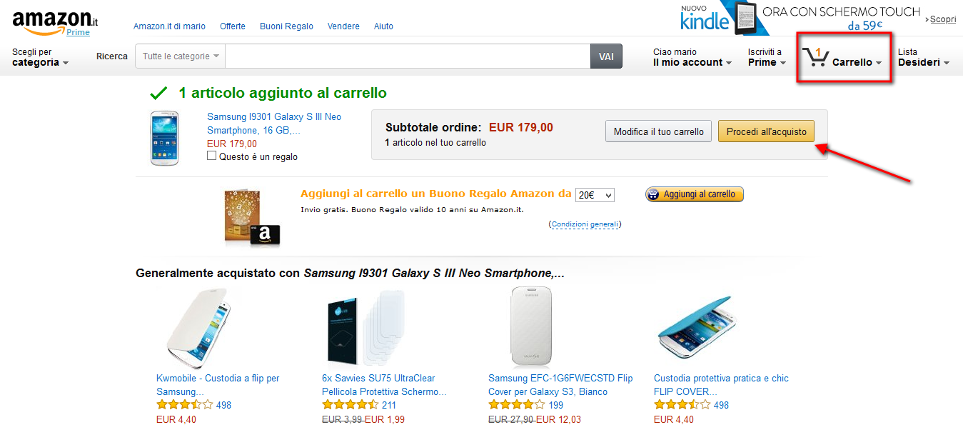 Amazon: procedi all'acquisto
