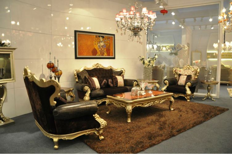 Luxury European Furniture For Living Room Classic Design With Antique Crystal Lighting Marble Wall Best