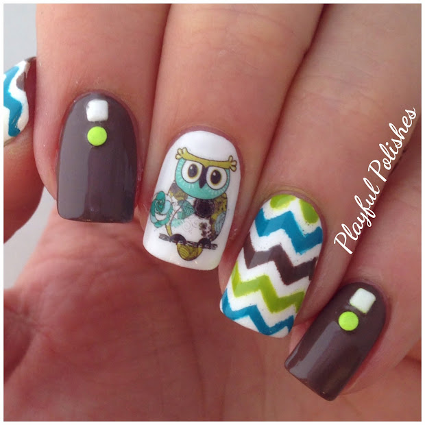 playful polishes owl nail art water