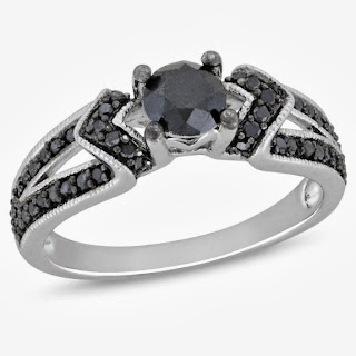 Black Single-Cut Diamond Black Rhodium Plated Engagement Ring