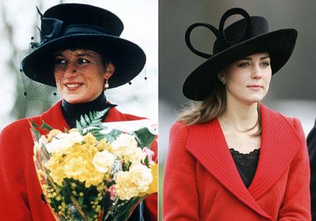 Кейт Мидълтън и лейди Даяна с червен костюм и черна шапка